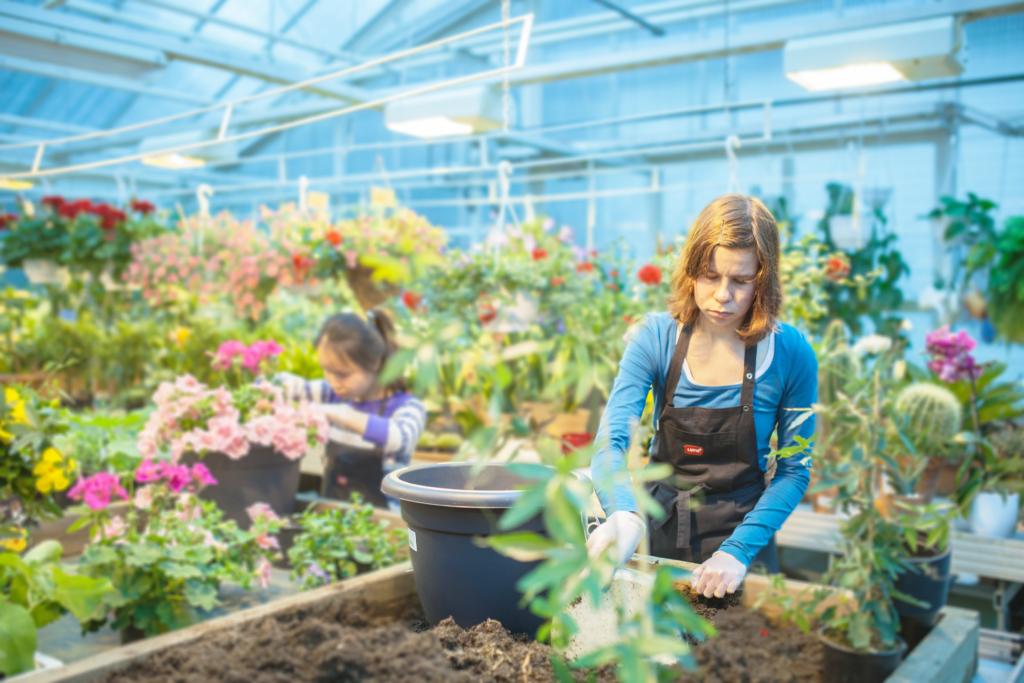 Puutarhuriopiskelija hommailee ruukun kanssa suuressa kasviuoneessa