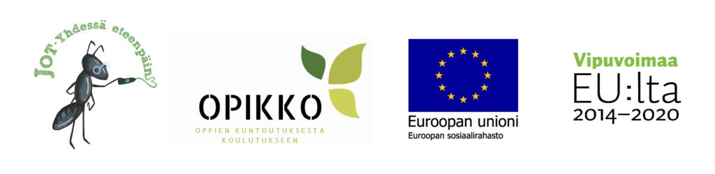 JOT- ja OPIKKO-hankkeiden sekä Euroopan unionin sosiaalirahaston ja Vipuvoimaa tunnukset
