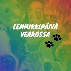 Lemmikkipäivä verkossa -tilaisuuden tunnus, teksti, tassunjäljet ja taustalla eläinten kuvia